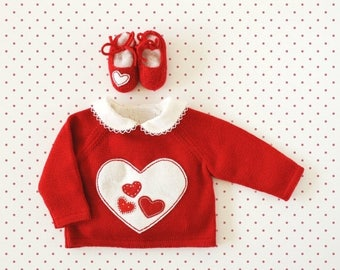 ON SALE Knitting sweater in red with hearts. 100% wool. READY To Ship size Newborn. Valentine's Day