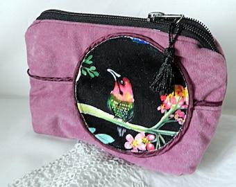 Make-up or school bag in pink velvet with bird