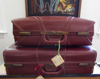 Vintage Leather Suitcase Luggage First Class Matching Set of Two