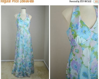 Summer SALE - 20% off - vintage 60s gauzy dreamy floral blue maxi gown dress halter sleeveless dress -- womens 35-28-free