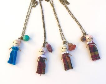 Worry dolls, tiny doll pendant necklace, colorful mix-media pendant, brass chain and gemstone charm necklace.