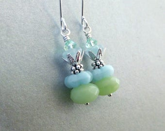 Glass bead layer earrings, mint color Czech glass, bright silver metal accents, pale blue opal green flowery beads, glass bead jewelry