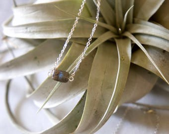 Labradorite necklace with blue flash!