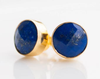Blue Lapis Stud Earrings - September Birthstone Studs - Lapis Lazuli - Gemstone Studs - Round Studs - Gold Stud Earrings - Post Earrings