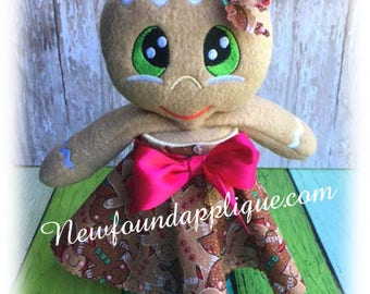 In The Hoop Jar Lid Gingerbread Stuffie Embroidery Machine Design