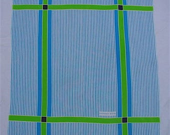 Turquoise Blue Silk Scarf GEOFFREY BEENE with Lime Green & White Striped Ticking Plaid