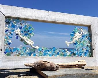 double mermaids in a wave of blues beachglass