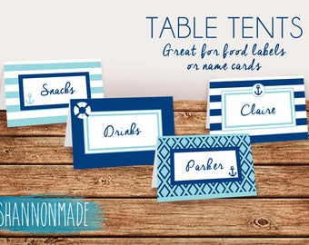 Nautical Table Tents, Food Labels or Name Cards