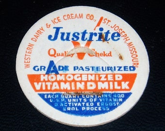 Milk Bottle Lids x 6, Western Dairy & Ice Cream, St. Joseph Mo.