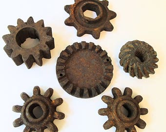Industrial Iron Salvage Pieces - Group of 6 - Rusty Iron Cogs - Bundle - Paperweights - Welding Supply