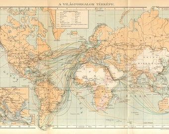 1894 Antique World Map of the Main Sea Traffic Routes at the End of the 19th Century