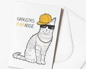 Funny Cat Card 'Gangsta's Purradise' Cat Puns | Cat Cards | Birthday Cards