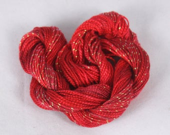 Strawberry Red Cotton Perle crochet  Embroidery thread tatting yarn weaving supply size 8 and 5 metallic sewing thread variegated hand dyed