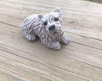 Cairn Terrier with a winter Scarf, Polymer Clay, miniature Dog, Dollhouse Dog