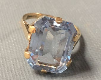 Vintage 9ct Gold Aquamarine Ring 1990s