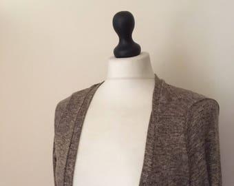 vintage khaki long duster cardigan WOMENS 12-14