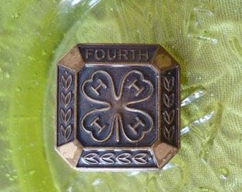 4H Fourth Four Leaf Clover brass Pin