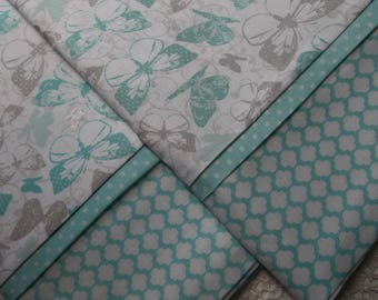 Aqua Floral Queen/Standard pillowcases love Pair romantic bed linens bedding nature cottage chic