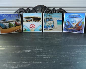 Ceramic Coasters, VW Bug, House Decor, Home Decor, Decoupage, Drink Coasters, Waterproof, Square Coasters, Beach Coasters