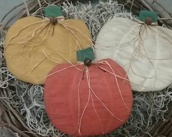 Primitive Flat Pumpkin Bowl Fillers - Set of 3 Fabric Pumpkins - Country Autumn Decor - Cupboard Tucks - Fall Ornies - Primitive Grungy