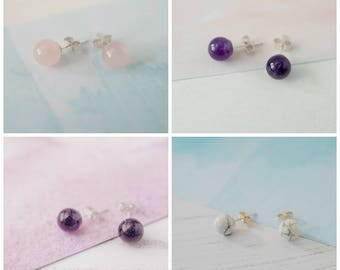 2 Pairs of Gemstone Studs for 20, Special Offer, Earring Offer, Stud Earrings, Gemstone Earrings, Earring Multi-buy, Stocking Filler Studs