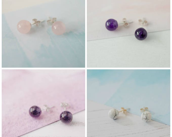Featured listing image: 2 Pairs of Gemstone Studs for 20, Special Offer, Earring Offer, Stud Earrings, Gemstone Earrings, Earring Multi-buy, Stocking Filler Studs