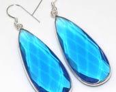 Sale, Very Beautiful Blue Topaz Tear Drop Earrings, 925 Silver