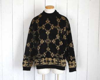 Metallic Knit Sweater - 1980s Funny Christmas Sweater - Vintage Fair Isle Winter Holiday Sweater - Black Gold - Medium M / Large L