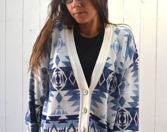 34% Off Sale - Navajo Cardigan Sweater 1980s Slouchy Blue White Southwest Vintage Button Up Knit Sweater Medium Large