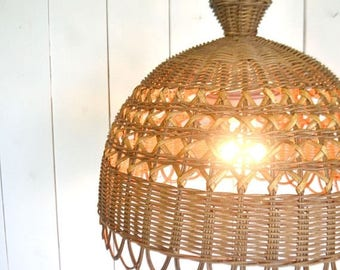 FIRE SALE 25% Off Ratan Hanging Lamp - Vintage Beige Woven Wicker Light - 1970s Hippie Boho Decor