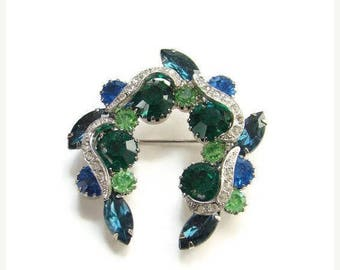 ON SALE Vintage Emerald Green and Sapphire Blue Rhinestone Brooch With Clear Pave Ribbons