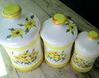 Sears Roebuck Canister Set 1970s Yellow Daisies Flower Power Kitchen Home