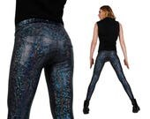 Mens Leggings w. Jeans Back, Holographic Black, Meggings, Men Festival Clothes, EDC, Futuristic Clothing, Costumes Burning Man, LENA QUIST