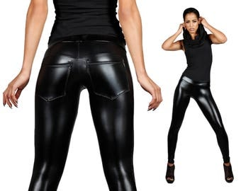 Leather Leggings w. Jeans Back, Black Spandex Pants, Back Pockets, Meggings, Glam Rock Clothing, Heavy Metal, Stage Wear, by LENA QUIST