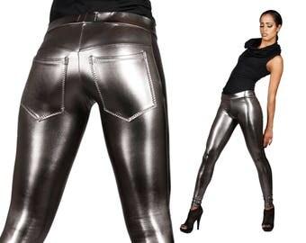 Metallic Jeans-Back Leggings, Gun Metal Spandex Pants, Dark Silver, Futuristic Stage Wear, Glam Rock Clothing, Burning Man, by LENA QUIST