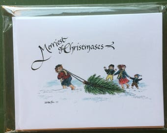 """SOON DISCONTINUED- 2014 Hobbit Christmas Cards- """"Merriest of Christmases"""""""