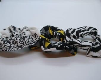 Hair Accessories Scrunchie set of three black white bandana, zebra print, butterflies black white yellow
