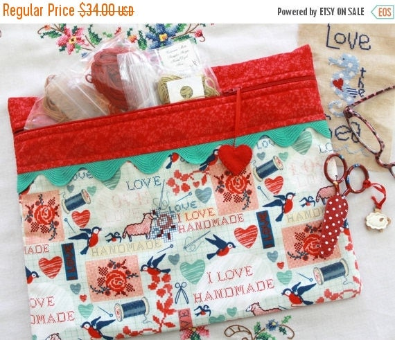 SALE I Love Handmade Cross Stitch, Sewing, Embroidery Project Bag