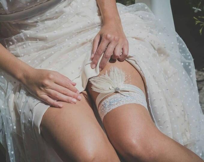 Wedding Garter Ivory, Peacock Garter Ivory, Ivory Bridal Garter, Wedding Garter, Garter Belt, Ivory or White Elastic, Garter for Wedding