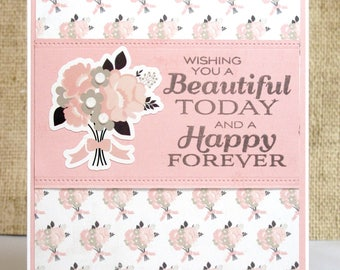 Wedding Bouquet Card- Wedding Card- Love Card- Congratulations- Happy Forever- Wedding- For Newlyweds