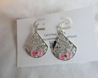 Bowtie Earrings, Five Pair, Pink, Black, Bowtie