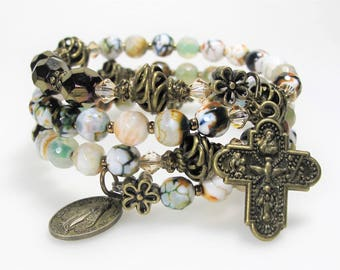 New Agate Mix Semi-precious Rosary Wrap Bracelet Catholic Jewelry Bridesmaid Gift Mother's Gift Confirmation Gift,Unique One-Of-A-Kind #538