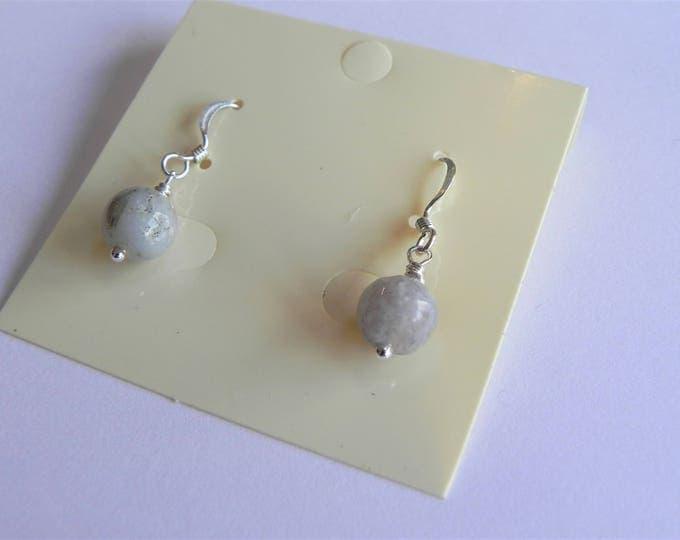 Mookaite jasper grey/purple gemstone sterling silver drop earrings