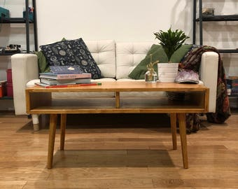 """Mid Century Modern Coffee Table Solid Wood 36"""" - MADE TO ORDER"""