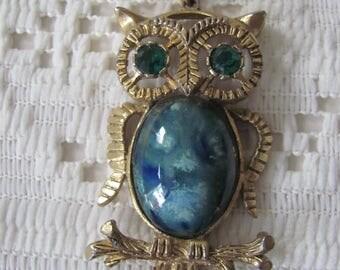 Vintage Owl Necklace Porcelain Belly Rhinestone Eyes