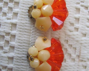 Vintage  Lucite Earrings, Clip on Earrings, Signed W. Germany, CLEARANCE