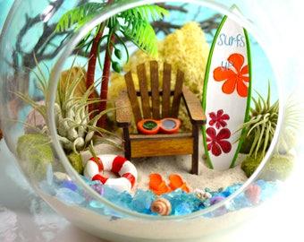 """Beach Surfboard Terrarium Kit ~ Surf's Up Floral Surfboard ~ Adirondack Chair ~ 2 Air plants ~ 7"""" Glass Globe ~ Beach Decor ~ Summer ~ Gift"""