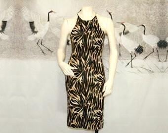 Vtg 90s Brown + Black Tiger Stripe Slinky Halter Back Dress / Size Medium