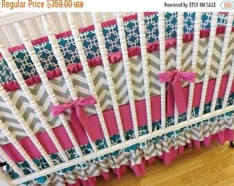 SUMMER SALE-- Girl Crib Bedding- Girl Baby Bedding- MADE to Order- Teal- Gray- Fuchsia