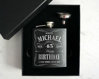 Personalized Birthday Flask, Custom birthday flask, 21 st Birthday Gift, Hip Flask, Birthday gift